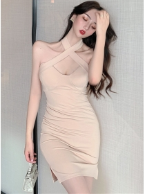 Wholesale Sexy 2 Colors Halter Backless Skinny Dress