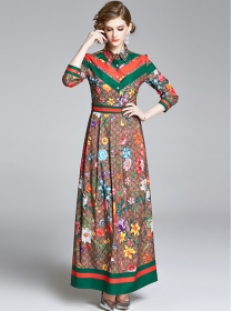 Vogue Lady High Waist Flowers Shirt Collar Maxi Dress