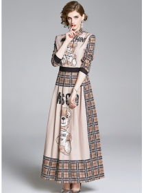 Europe Stylish High Waist Bear Plaids Maxi Dress