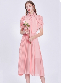Charming Europe 2 Colors Tie Collar Pleated Long Dress