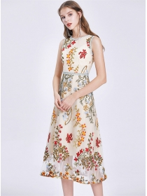 Summer New Flowers Embroidery Gauze Tank A-line Dress