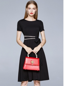 Modern Lady Round Neck Tie Waist Flouncing A-line Dress