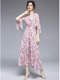Charming Lady Tie Waist Flowers Flare Sleeve Maxi Dress