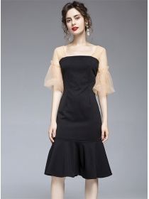 Fashion Wholesale Gauze Puff Sleeve Fishtial A-line Dress