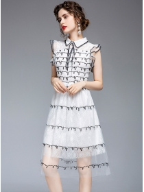 Lovely Fashion Sequins Embroidery Doll Collar Gauze Dress