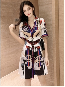 Modern Lady V-neck Tie Waist Printings Shirt Dress