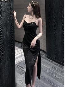 Modern Sexy Backless Split Shining Straps Dress