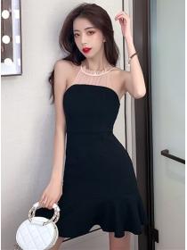Sexy Wholesale Gauze Halter Fishtail Slim Dress