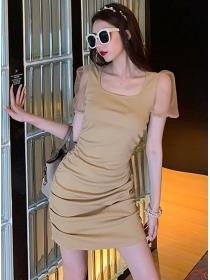 Wholesale Summer Gauze Sleeve Pleated Slim Cotton Dress