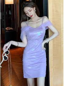 Charming Sexy Gauze Boat Neck Shining Skinny Dress