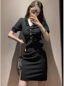 Fashion Korea Flouncing V-neck Slim Short Sleeve Dress