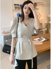 Modern Lady Double-breasted V-neck Short Coat