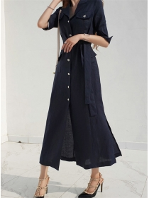 Korea Fashion 2 Colors Single-breasted Shirt Long Dress