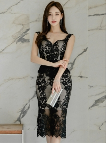 Fashion Lady Gauze Collar Lace Flowers Slim Tank Dress