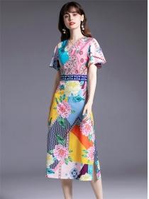 Fashion Summer V-neck Flowers Short Sleeve A-line Dress