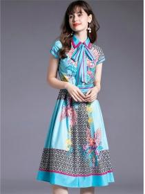 Modern Lady Tie Collar Flowers Flouncing A-line Dress