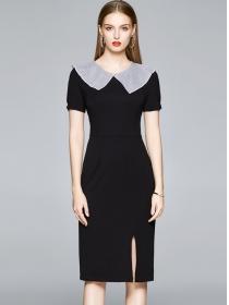 Modern Lady Doll Collar Bodycon Short Sleeve Dress
