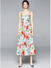 Lovely Wholesale High Waist Flowers Straps Maxi Dress
