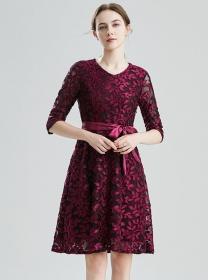 Fashion Europe 2 Colors Tie Waist Flowers A-line Dress