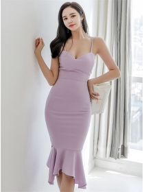 Elegant Lady Fitted Waist Fishtail Straps Dress
