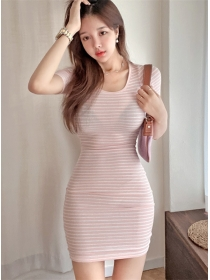 Wholesale Korea 2 Colors Round Neck Stripes Slim Dress