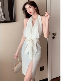 Elegant Sexy 2 Colors Backless Tie Waist Halter Dress