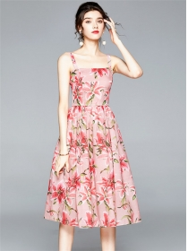 Charm Europe High Waist Flouncing Flowers Straps Dress
