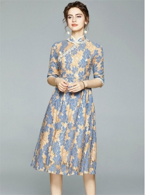 Europe Grace Fashion Lace Flowers Cheongsam Long Dress