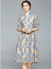 Retro Europe Flare Sleeve Lace Cheongsam A-line Dress