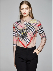 Europe Stylish Color Block Plaids Long Sleeve Blouse