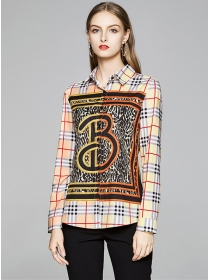 Wholesale Europe Plaids Leopard Long Sleeve Blouse