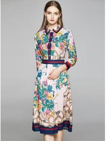 Europe Fashion Shirt Collar Flowers Long Sleeve Dress