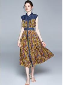 Retro Fashion Denim Shirt Collar Flowers Chiffon Dress