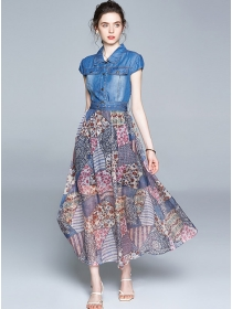 Pretty Fashion Denim Shirt Collar Flowers Long Dress