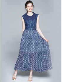 Stylish Lace Doll Collar Denim Splicing Dots Maxi Dress