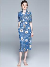 Pretty Fashion Zipper V-neck Tie Waist Flowers Denim Dress