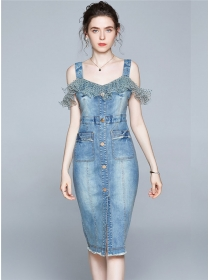 Modern OL Gauze Flouncing Single-breasted Denim Skinny Dress