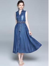Modern Europe V-neck Tie Waist Denim Long Dress
