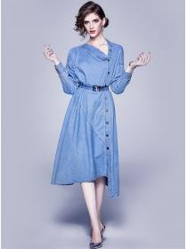 Europe New Sloping Single-breasted Loosen Denim Dress