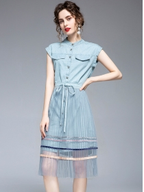 Fashion Single-breasted Denim Dress with Pleated Gauze Skirt