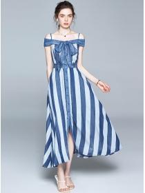 Modern Lady Bowknot Boat Neck Stripes Denim Long Dress