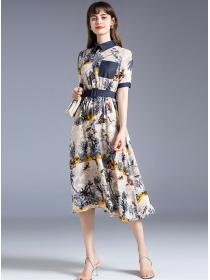 Retro Fashion Shirt Collar Flowers Printings A-line Dress