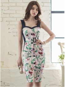 Pretty 2 Colors Single-breasted Flowers Straps Dress