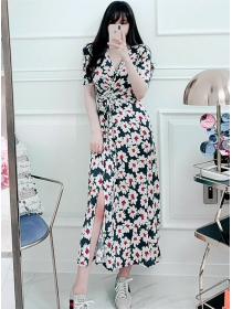 Wholesale 2 Colors Flowers Tie Waist Split Maxi Dress