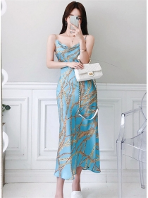 Fashion Summer Chain Printings Straps Long Dress