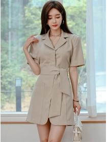 Modern OL Tailored Collar Backless Tie Waist Coat Dress