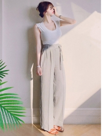 Modern Korea Backless Knit Tops with Straight Long Pants