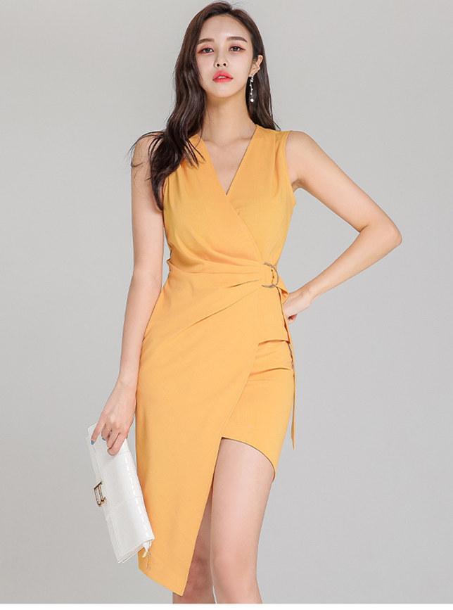 Korea Stylish V-neck Buckle Fitted Waist Tank Dress