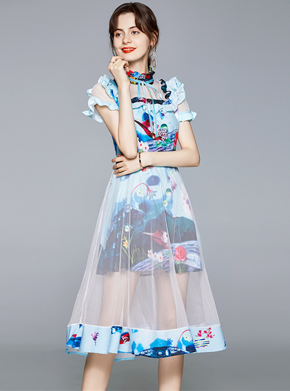 Retro Europe Flouncing Collar Flowers Gauze A-line Dress