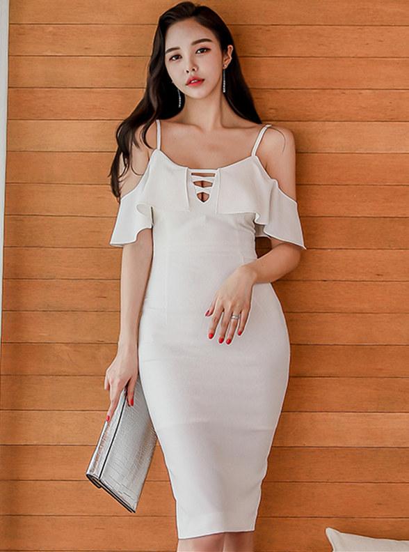 Sexy Korea Flouncing Off Shoulder Straps Slim Dress